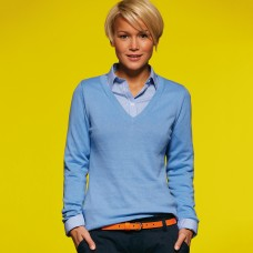 LADIES V-NECK PULLOVER 100%C