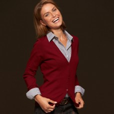 LADIES V-NECK CARDIGAN 100%C