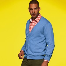 MEN V-NECK CARDIGAN 100%C