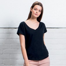 WOMEN'S LOOSE FIT V NECK 100%C